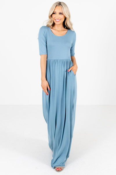 Women's Blue High-Quality Material Boutique Maxi Dress
