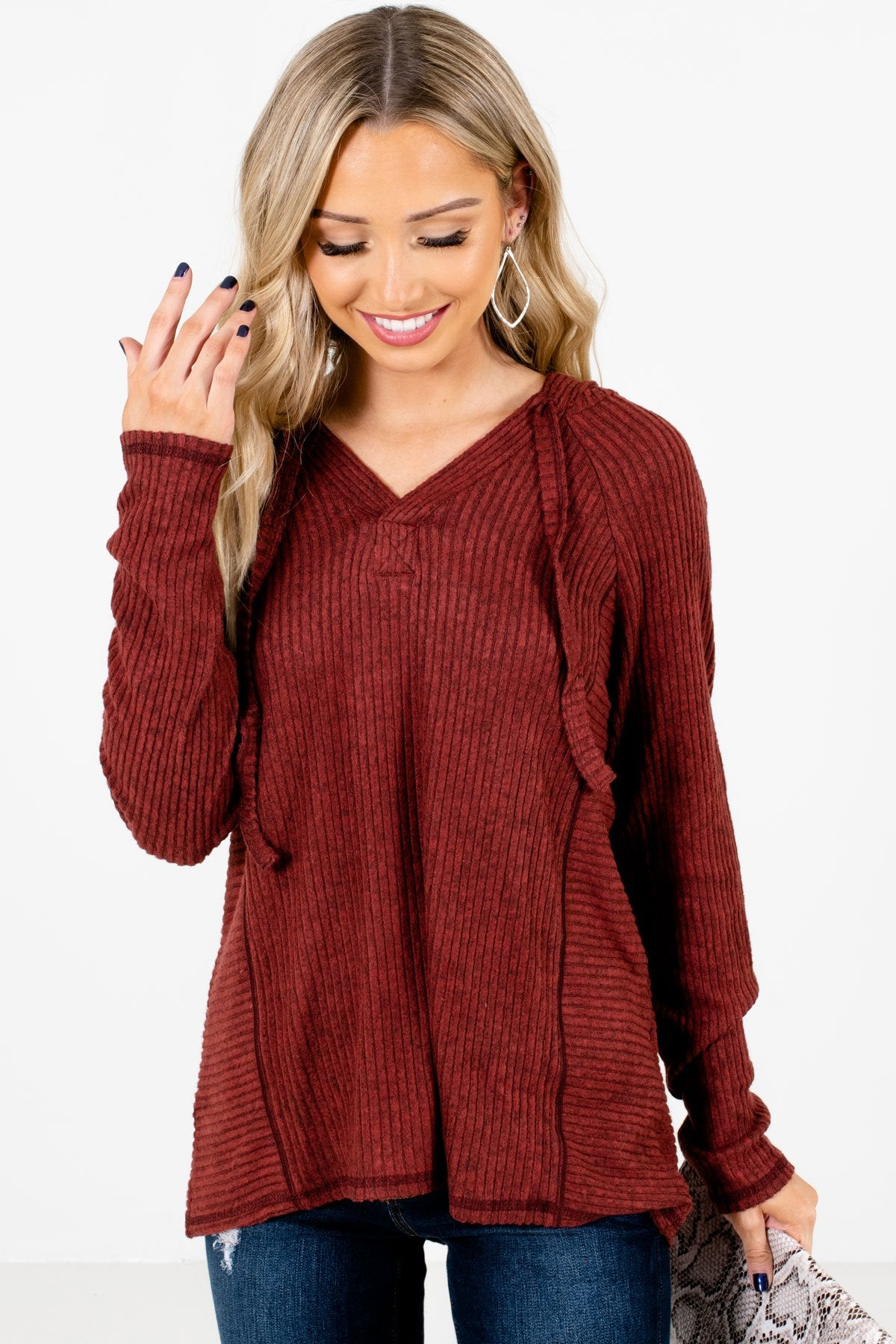 Rust Red High-Quality Ribbed Material Boutique Hoodies for Women