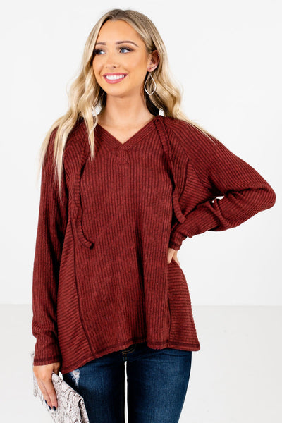 Women's Rust Red Cozy and Warm Boutique Hoodie