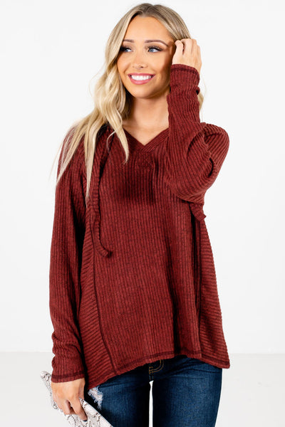 Rust Red Cute and Comfortable Boutique Hoodies for Women