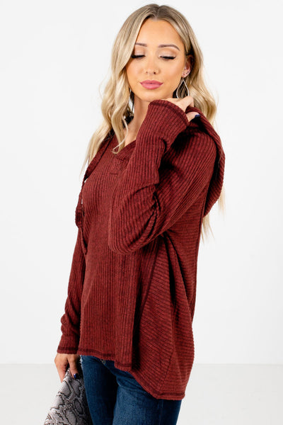 Rust Red Casual Everyday Boutique Hoodies for Women