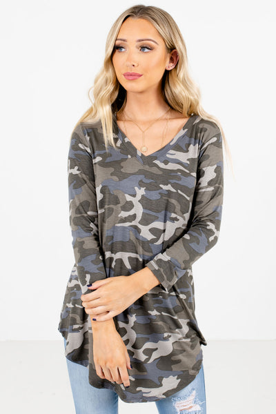 Green Camouflage Print Boutique Tops for Women
