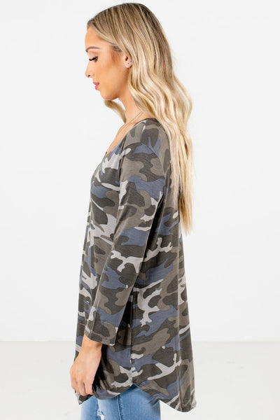 Green Rounded Hem Boutique Tops for Women