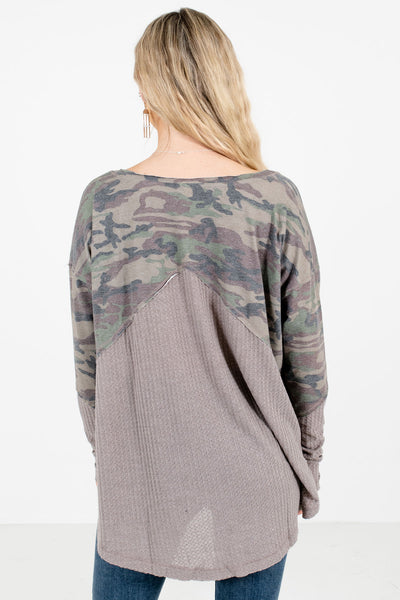 Women's Gray Waffle Knit Material Boutique Tops