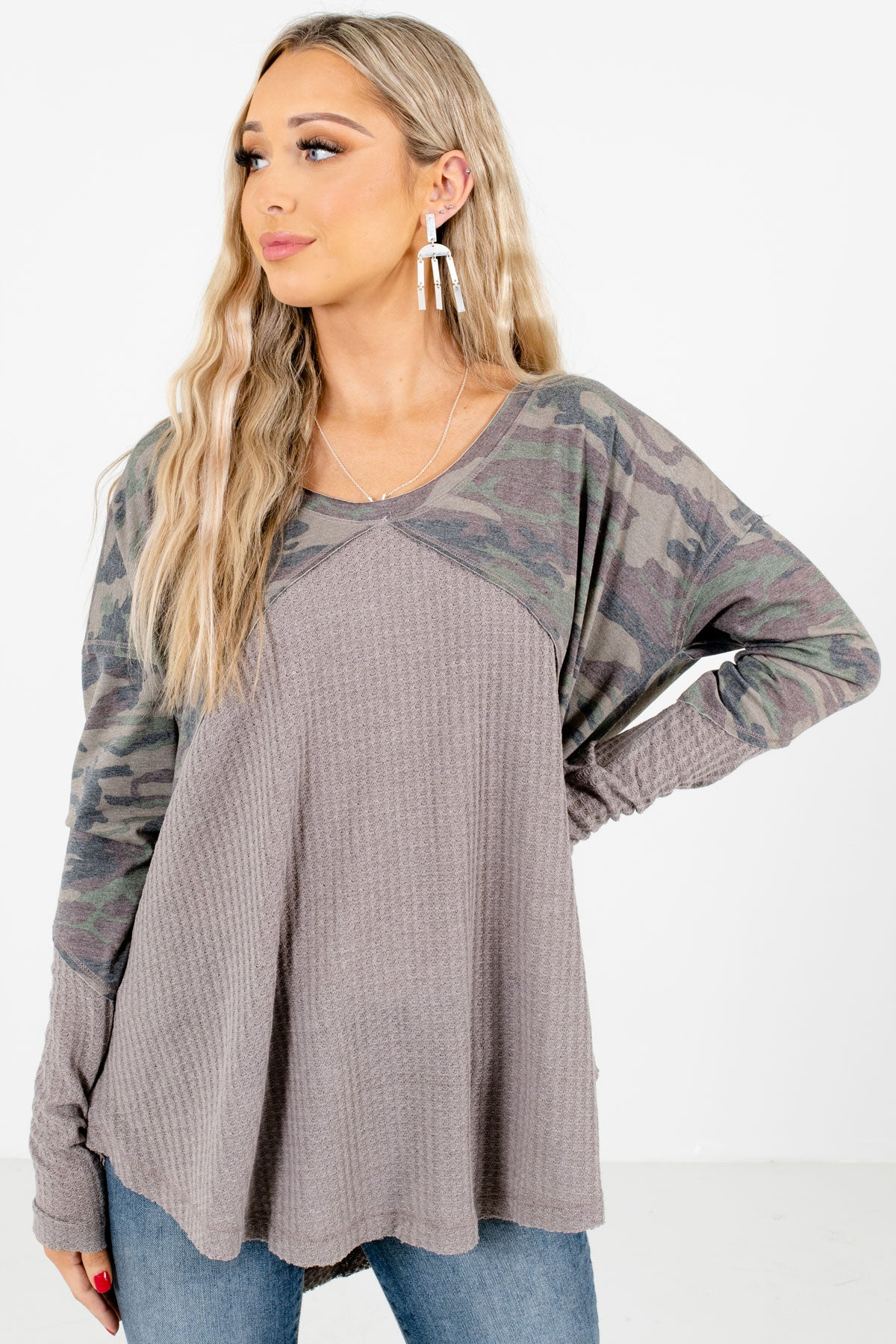 Gray and Green Camo Print Boutique Tops for Women