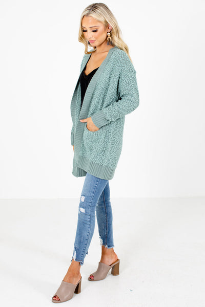 Women's Green Layering Boutique Cardigan