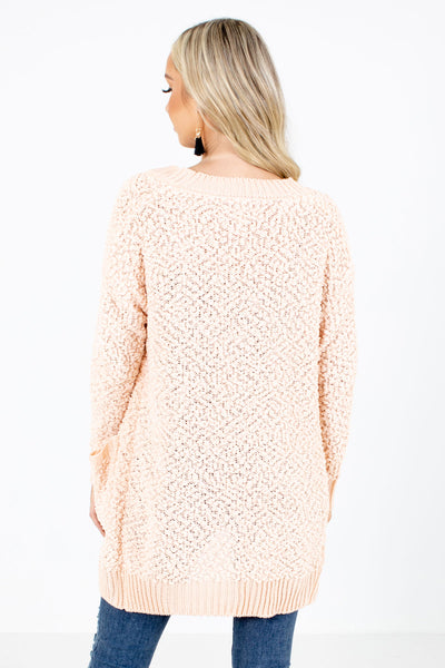 Women's Peach High-Quality Material Boutique Cardigan