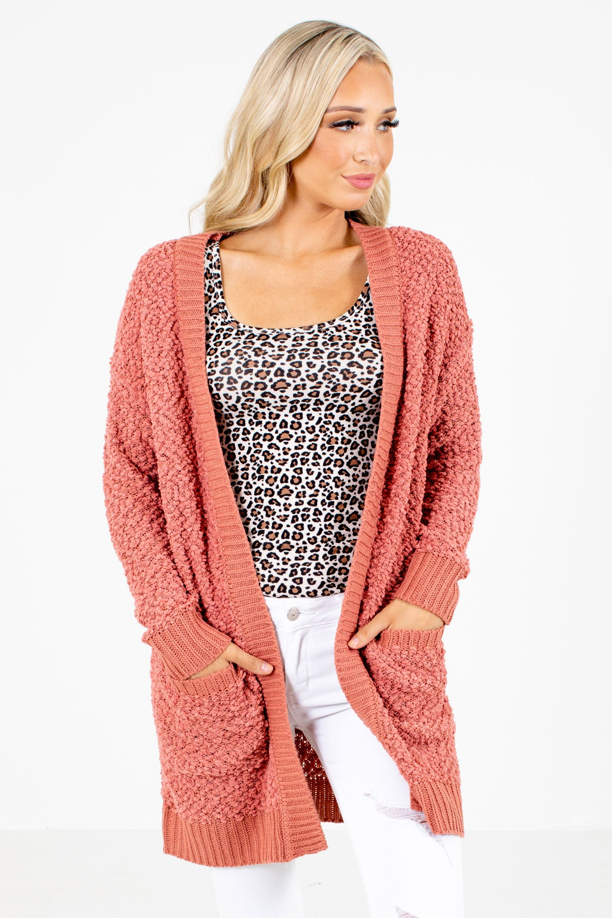 Pink Popcorn Knit Material Boutique Cardigans for Women