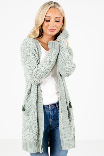 Sage Green Soft Boutique Cardigans for Women