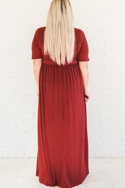 Brick Red Women's Maxi Winter Dresses with Pockets