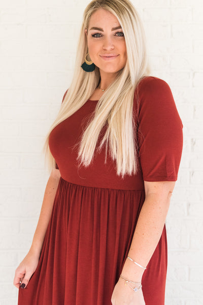 Brick Red Women's Plus Size Dress with 3/4 Sleeves