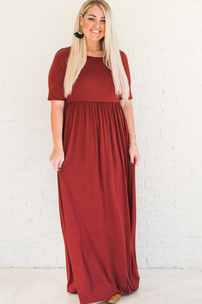 Brick Red Plus Size Maxi Winter Dresses for Women