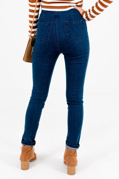 Women's Dark Wash Blue High-Waisted Boutique Jeans
