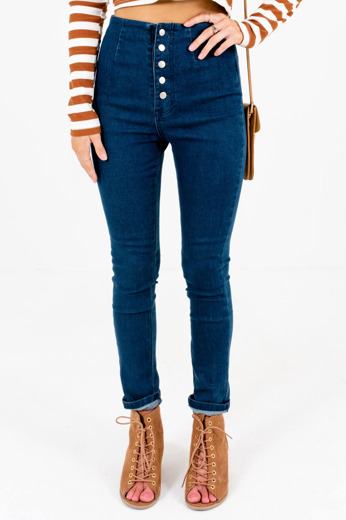 Dark Wash Blue Button-Up Front Boutique Skinny Jeans for Women