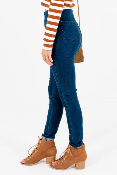 Dark Wash Blue High-Quality Material Boutique Jeans for Women
