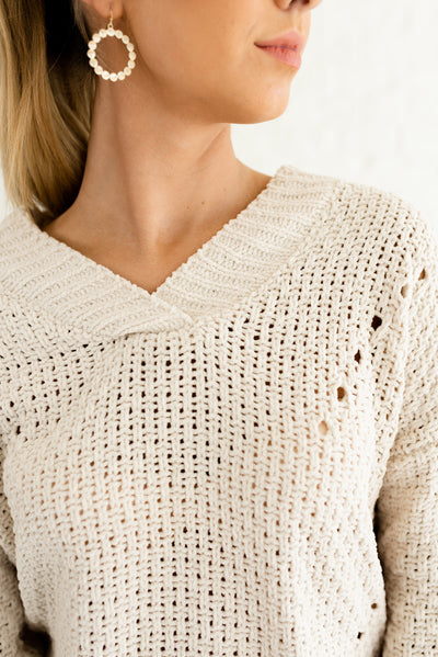 Beige Brown Semi-Sheer Knit Boutique Sweaters for Women