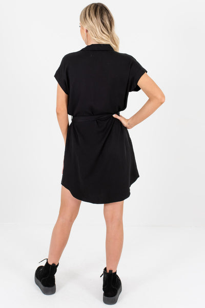 Black Button-Up Shirt Mini Dresses Affordable Boutique
