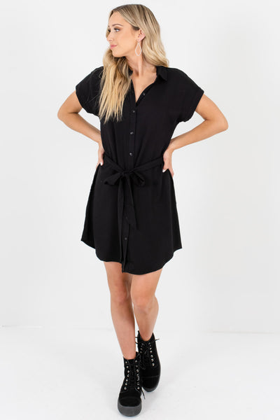 Black Shirt Collar Button-Up Mini Dresses Affordable Boutique