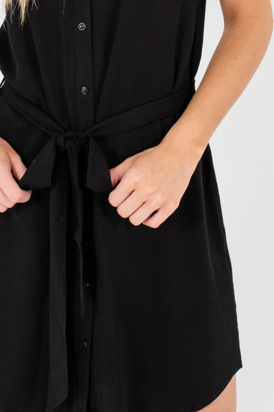 Black Mini Button-Up Shirt Dresses Affordable Online Boutique
