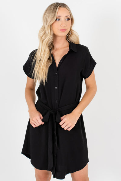 Black Button Up Mini Shirt Dresses Affordable Online Boutique