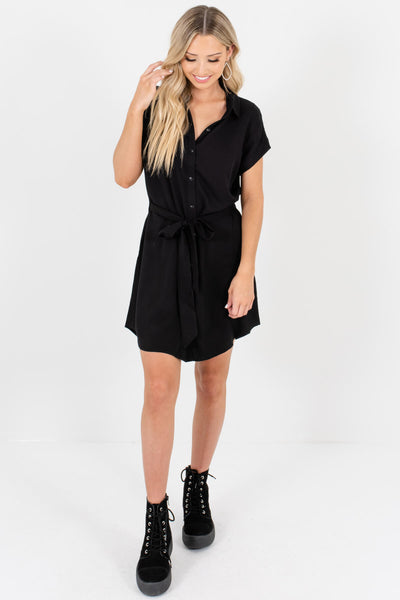 Black Button-Up Shirt Mini Dresses Affordable Online Boutique