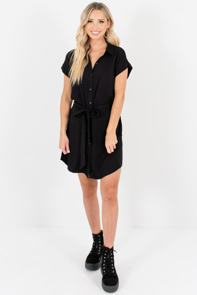 Black Shirt Collar Button Up Mini Dresses Affordable Boutique