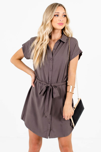 Gray Shirt Collar Button Up Mini Dresses Affordable Boutique