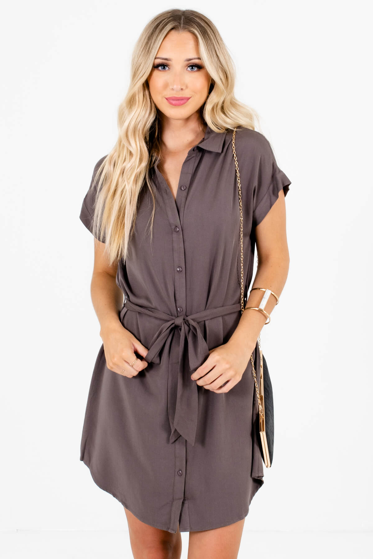 Gray Button-Up Shirt Mini Dresses Affordable Online Boutique