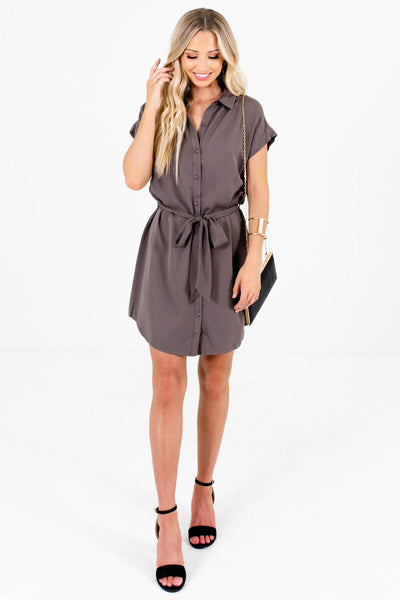 Gray Shirt Collar Button-Up Mini Dresses Affordable Boutique