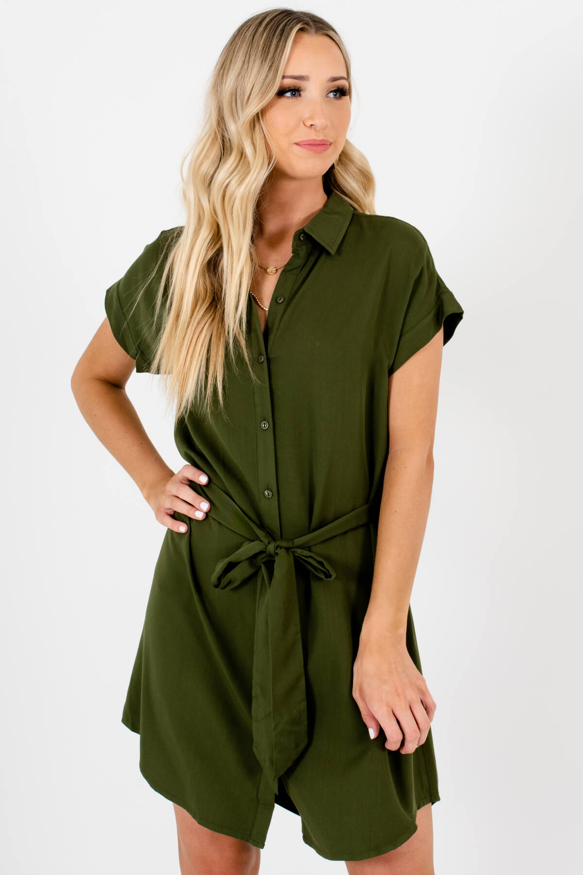 Olive Green Button-Up Shirt Mini Dresses Affordable Online Boutique