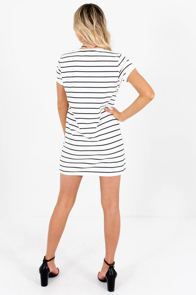White Black Horizontal Striped Tunic Tops for Women