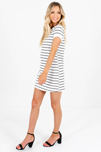 White Black Striped Cute Longer Length Tunic T-Shirts
