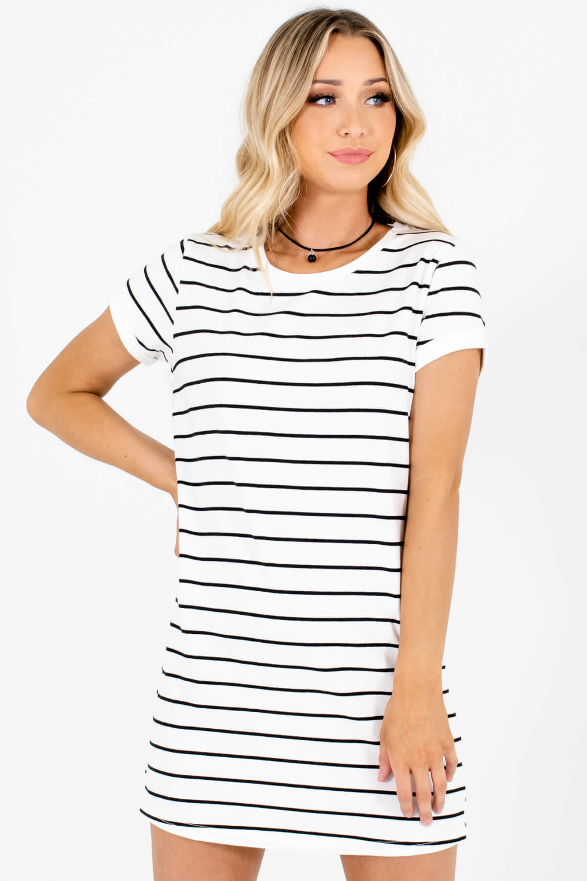 White Black Striped Long T-Shirt Tunic Mini Dresses for Women