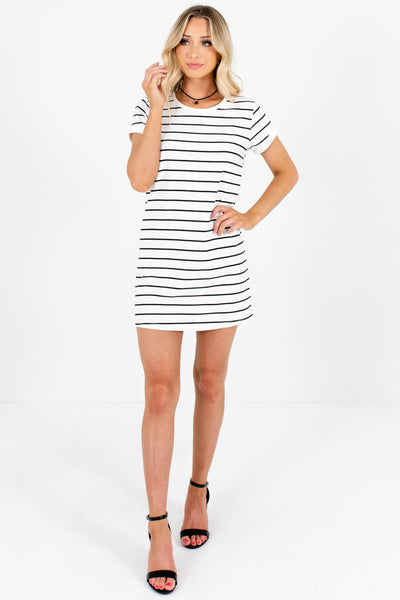White Black Striped Long Tunic T-Shirt Mini Dresses