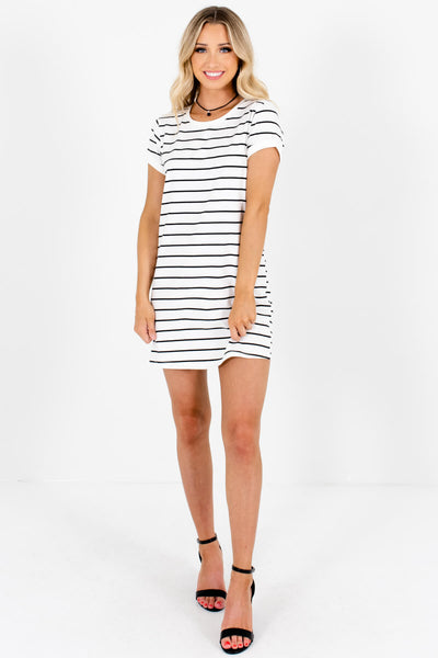 White Black Striped Longer Length T-Shirt Tunic Dresses