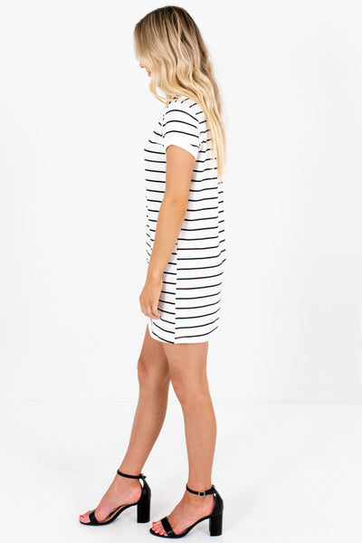 White Black Horizontal Striped T-Shirt Mini Dresses