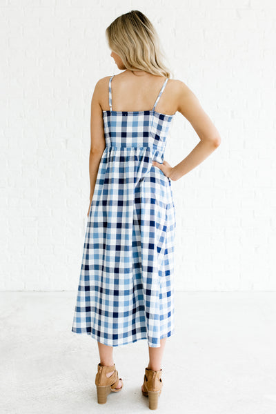 Blue Gingham Button Up Sleeveless Midi Dresses for Women