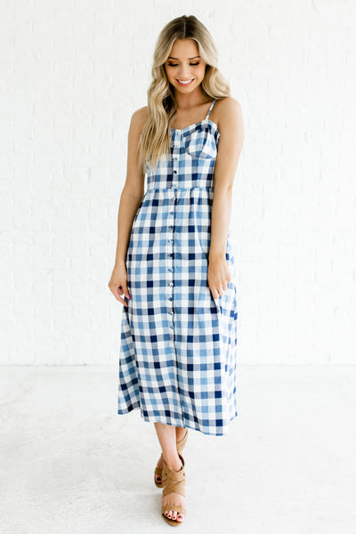 Blue Navy White Gingham Print Button Up Boutique Midi Dresses