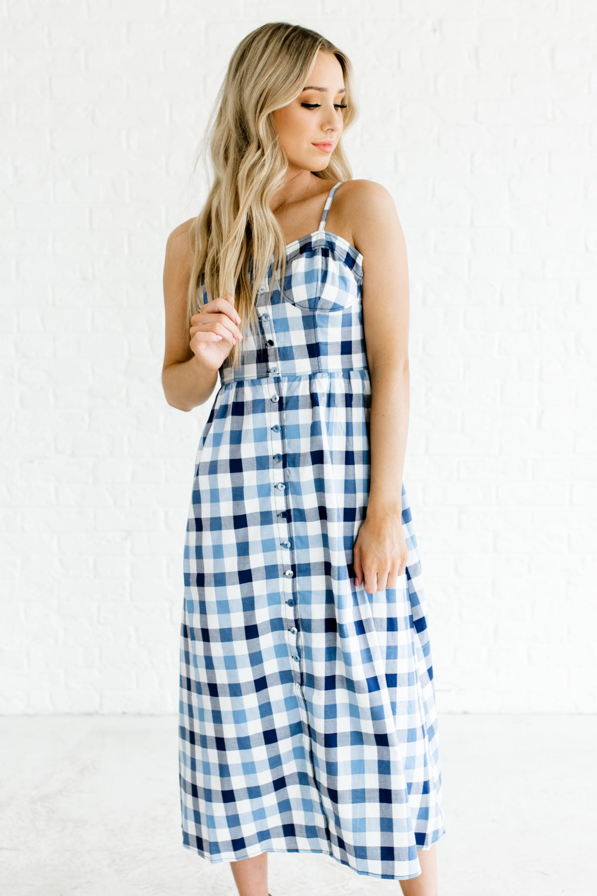 Blue Navy White Gingham Button Up Midi Dresses for Women