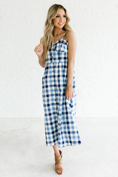 Blue Navy Gingham Print Button Up Boutique Midi Dresses