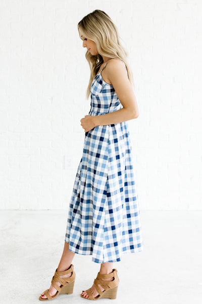 Blue Navy White Gingham Plaid Pattern Cute Button Up Midi Dresses