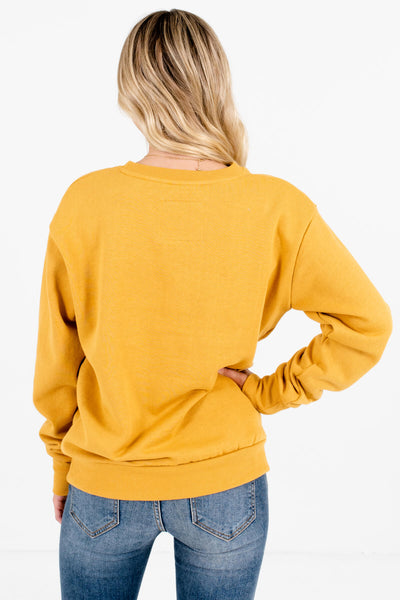 Women's Mustard Yellow Fleece-Lined Boutique Pullover
