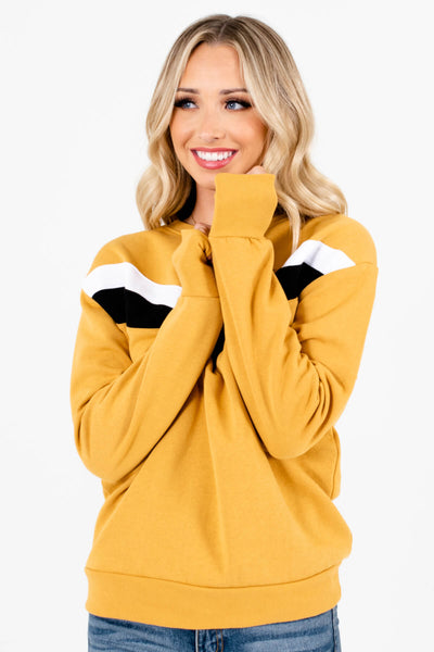 Women's Mustard Yellow Round Neckline Boutique Pullover