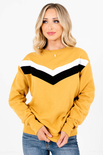 Mustard Yellow Retro Stripe Patterned Boutique Pullovers for Women
