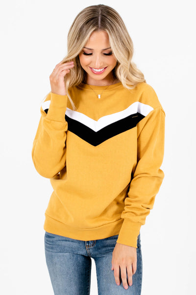 Mustard Yellow Long Sleeve Boutique Pullovers for Women