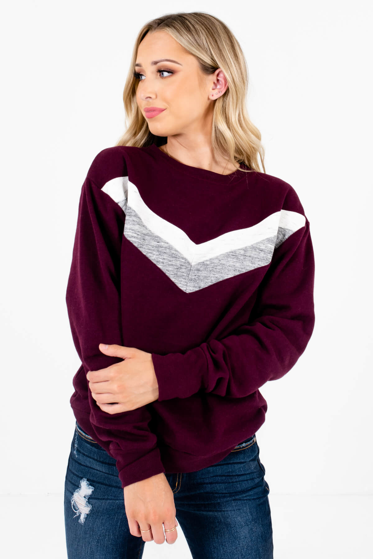 Dark Purple Retro Stripe Patterned Boutique Pullovers for Women