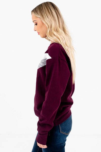 Dark Purple Long Sleeve Boutique Pullovers for Women