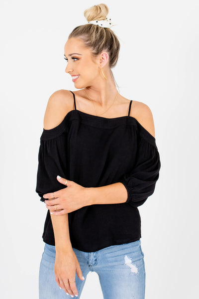 Black Pleated Accented Boutique Cold Shoulder Tops for Women