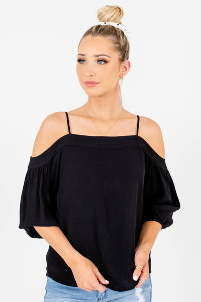 Black Cold Shoulder Style Boutique Tops for Women