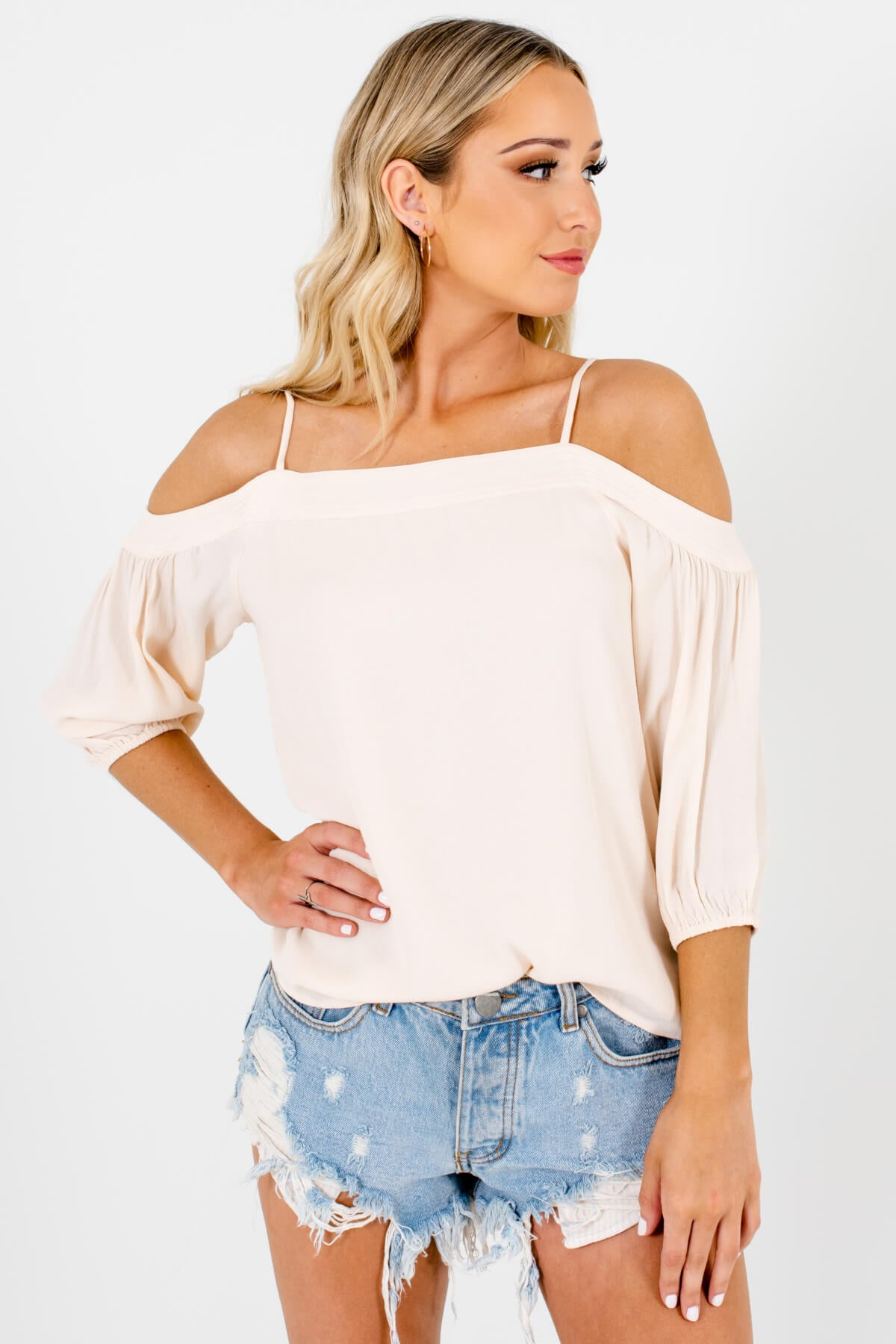 Cream Cold Shoulder Style Boutique Tops for Women